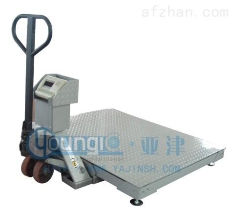 上海亚津带叉车2T移动式地磅